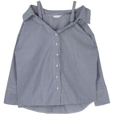 Striped Off-Shoulder Blouse (165 MYR) ❤ liked on Polyvore featuring tops, blouses, off the shoulder blouse, loose tops, stripe top, loose fitting tops and striped off-the-shoulder tops