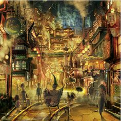 """""""Well, I'm on my way home from work, so as you can see, I'm covered in soot. Landscape Concept, Fantasy Landscape, Landscape Art, Fantasy Places, Fantasy World, Fantasy Art, Steampunk, Anime Comics, Pixel Art"""