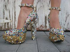 Chiquita spike shoes ~ 6 inch heel 2 inch platform. Hand made to order with Swarovski stones. Aka. My dream come true shoes