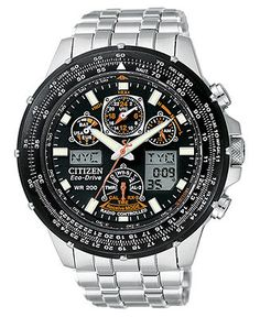 Citizen Watch, Men's Eco-Drive Skyhawk Atomic Stainless Steel Bracelet 45mm JY0000-53E (Macy's)