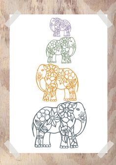 Elephants Decor Family Tree Gift for Babies by piiapodersalu Pretty Tattoos, Cute Tattoos, New Tattoos, Cousin Tattoos, Beautiful Tattoos, Tatoos, Elephant Family Tattoo, Elephant Tattoos, Elephant Tattoo Meaning