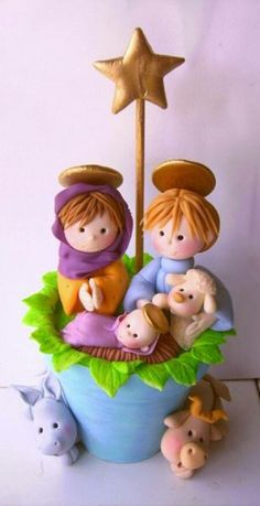 I'm going to make my own w/ Fimo clay Polymer Clay Figures, Fimo Clay, Polymer Clay Crafts, Polymer Clay Creations, Christmas Nativity Scene, Christmas Crafts, Christmas Decorations, Christmas Ornaments, Nativity Sets