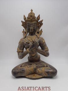 "Large Vintage Bronze Buddha Statue Vajradhara Tibetan Buddhist 14.5"" Tibet Nepal"