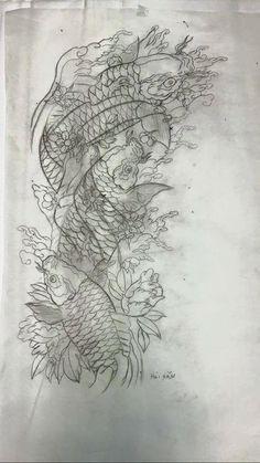 Carp Tattoo, Koi Fish Tattoo, Fish Tattoos, Koi Tattoo Design, Tattoo Designs, Japanese Koi, Japanese Tattoo Art, Oriental Tattoo, Tatting