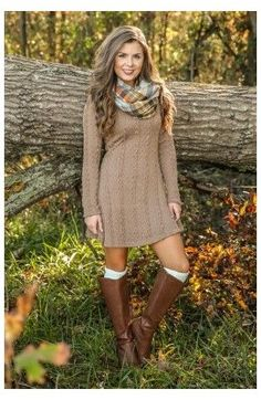 Pull Marron, Dress Outfits, Fashion Dresses, Cable Knit Sweater Dress, Knit Dress, Red Sweater Dress, Frack, Cute Fall Outfits, Brown Sweater