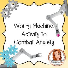 Inspired by the book: Wilma Jean the Worry Machine by Julia Cook. This activity… Anxiety Coping Skills, Anxiety Therapy, Counseling Activities, Group Counseling, Group Activities, Elementary School Counseling, School Social Work, School Counselor, English