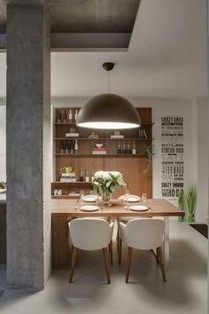 open kitchen shelves, in-kitchen dining Dining Room Design, Interior Design Living Room, Industrial Style Kitchen, Industrial Chic, Dinner Room, Urban Loft, Cuisines Design, Küchen Design, Design Ideas
