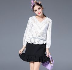 Buy Now (White V Neck Hollow Out Blouse Design) from Sheetag - http://www.sheetag.com/product/white-v-neck-hollow-blouse-design/