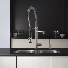 Kraus KPF-1602SS Single Handle Pull Down Kitchen Faucet Commercial Style Pre-rinse, Stainless Steel