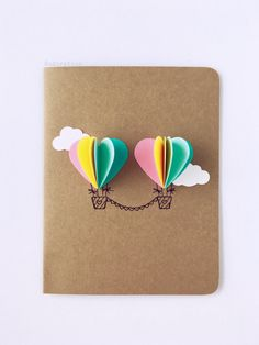 Couple Heart Hot Air Balloon Card rainbow by theadoration on Etsy