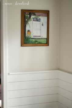 EDGECOMB GREY: benjamin-moore-edgecomb-gray-with-simply-white-planking-or-shiplap-in-dining-room-by-nina-hendricks Dining Wall Decor, Farmhouse Dining Room Lighting, Dining Room Paint, Dining Room Buffet, Dining Lighting, Dining Room Chairs, Room Decor, Dining Rooms, Dining Table