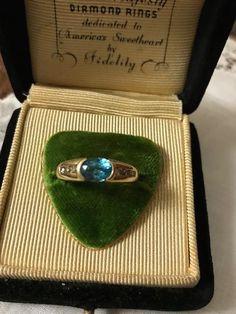 Vintage 14K blue Topaz/Diamond Ring