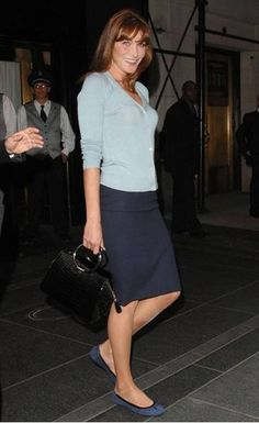 Carla Bruni Light Blue Sweater and Navy Skirt, Blue Flats