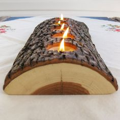 We make Christmas gifts for each other in my family. This would be a really cool one! 5 tealight wood candle holder low lying bark on split log eco nature beeswax candles