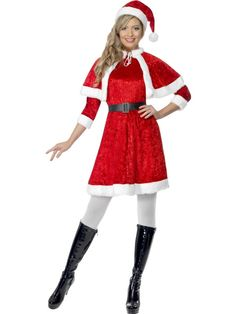 72b58bf80 The seductive Santa costume is comprised of a red velour dress with 3/4  length