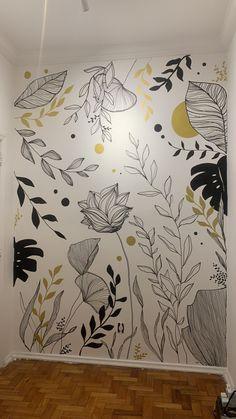 Wall Painting Decor, Mural Wall Art, Diy Wall Art, Art Decor, Wall Art Designs, Paint Designs, Wall Design, Mural Floral, Graffiti