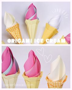 Learn how. Learn how to make a super cute origami ice cream cone with 2 sheets of paper, in this video I will talk you though how to make it.This origami ice-cream would make a great decoration at parties or a great centrepiece in the summer! Origami Diy, Cute Origami, Origami And Kirigami, Paper Crafts Origami, Oragami, Origami Stars, Ice Cream Cone Craft, Ice Cream Art, Origami Instructions
