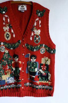 Ugly Christmas sweater vest by WindingRoadVintage on Etsy, L, $40