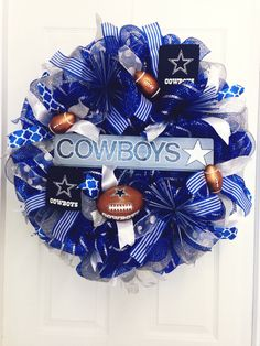 Dallas Cowboy Wreath, Cowboys Mesh Wreath by UniqueMeshDesign on Etsy