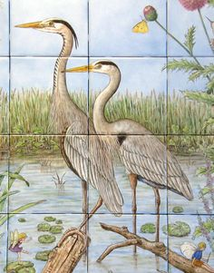 Detailed close-up of tile mural with mating pair of Great Blue herons.