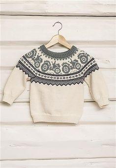 Traktorgenser pattern by Sandnes Garn Baby Boy Knitting Patterns, Baby Sweater Knitting Pattern, Fair Isle Knitting Patterns, Knitting For Kids, Knitting Designs, Knit Patterns, Handgestrickte Pullover, Baby Sweaters, Christmas Knitting