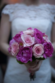Pink & Fuchsia Rose Bouquet. Las Vegas Wedding Planner Andrea Eppolito Events | Photo by Corry Arnold | Vintage Poolside Wedding at The Flamingo
