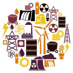 Energy Icon set vector art illustration