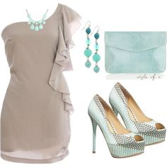Tan and Turquoise, created by styleofe on Polyvore