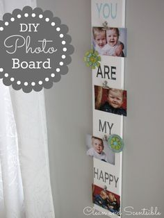 This easy DIY Photo Display Board makes the perfect gift and can easily be customized to any special event or holiday. Diy Projects To Try, Crafts To Do, Craft Projects, Crafts For Kids, Family Crafts, Wood Projects, Photo Display Board, Photo Displays, Craft Gifts