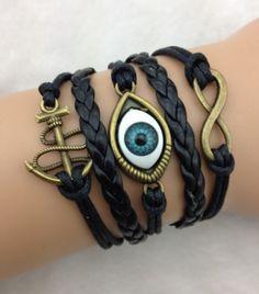 black style eye handmade bracelet,DIY leather bracelet sets shop at Costwe.com