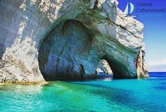 """There are numerous """"Blue Caves"""" that are cut into cliffs around Cape Skinari on Zakynthos Island in Greece. They are also known as the blue caves 'of. Dark Places, Places To See, Greece Cruise, Zakynthos Greece, Cave Diving, Greece Islands, Beach Hotels, Sailing, Beautiful Places"""