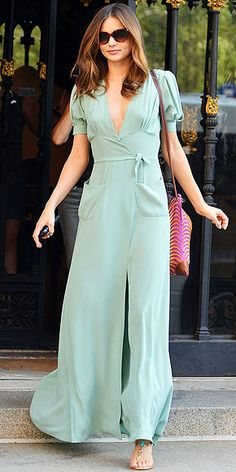 A wrap maxi like Miranda Kerr's bridges that line between overly casual/beachy and super-formal -- great for a day wedding!