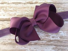 Amethyst bow headband - purple headband with matching 4 inch boutique bow - baby headband, newborn headband by BrownEyedBowtique on Etsy