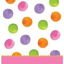 ShindigZ Girl's First Birthday Tablecover by Shindigz. $3.74. A colorful and fun table cover! The First Birthday Girl Table cover features a pink bottom edge with wavy orange border along with, a white background with pink, lavender, orange and lime polka dots. Each of the plastic Big 1 Dots - Girl Table covers measures approximately 54 inches wide x 108 inches long. ShindigZ party supply is a family-owned, party supplies and decorations store which has been in business sinc...