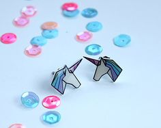 Rainbow Shrink Plastic Geo-Dream Unicorn Earrings                                                                                                                                                                                 More