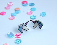 Rainbow Shrink Plastic Geo-Dream Unicorn Earrings