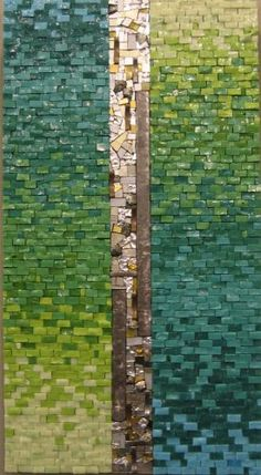 """Truth and Beauty III by Rachel Sager Mosaics 24""""h x 13""""w MATERIALS: 24K gold smalti, Italian smalti, pyrite, and hammered metal 2005"""