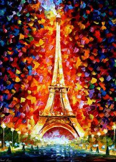 Eiffel tower painting by Leonid Afremov