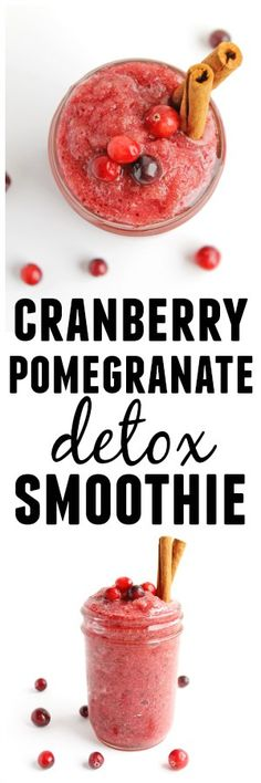 Cinnamon spiced cranberry pomegranate detox smoothie recipe! Full of antioxidants, fiber, vitamin C, and anti-inflammatory properties. A naturally sweetened way to boost back up and detox after all those holiday goodies! Vegan, vegetarian, gluten free, paleo, no added sugars. SO GOOD!