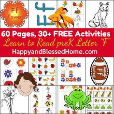 "FREE 60+ Pages with 30+ Preschool Activities from our Learn to Read Preschool Alphabet Letter ""F"" HappyandBlessedHome.com"