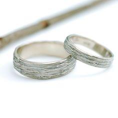 I Love Handmade: 14k Palladium White Gold Tree Bark Wedding Rings by Beth Cyr Jewelry