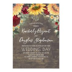 Sunflowers Red Roses Daisies Rustic Wedding Invitation perfect for fall Rustic Bridal Shower Invitations, Sunflower Wedding Invitations, Country Wedding Invitations, Bridal Shower Rustic, Wedding Rustic, Sunflower Weddings, Lilac Wedding, Burgundy Wedding, Wedding Colors