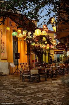 Greece Travel Inspiration - Greece Travel Inspiration- Kalamata (like the olive) ~ Peloponnese peninsula in southern Greece Oh The Places You'll Go, Places To Travel, Places To Visit, Café Exterior, Beautiful World, Beautiful Places, Outdoor Cafe, Outdoor Seating, Greece Travel