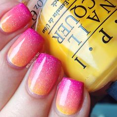 Essence  'Naughty and Pink,'  Rimmel 'Tangy Tangerine,' OPI 'The IT Color' (Yellow) #Gradient