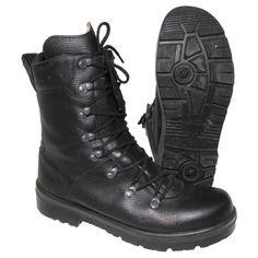 German Bundeswehr Black Leather Combat Boots- Used, Quantity (5)