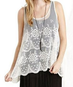 Love Love Love this Lace Tank Top Super sheer fabric and embroidered floral motifs.  #Cream #Lace  #Tank_Top #Summer_2014 #Fashion