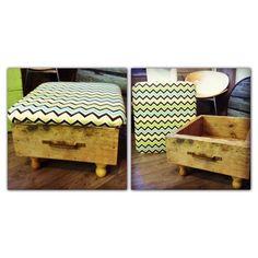 Repurposed drawer ottoman - www.facebook.com/Kukus.store
