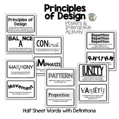 Principles of Design Posters & Interactive Activities | Expressive Monkey Elements And Principles, Elements Of Art, Interactive Activities, Interactive Notebooks, Art Critique, British Spelling, Black And White Posters, Teacher Resources, Art Teachers