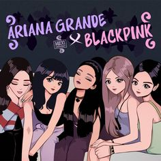 4078 likes, 107 comments - ✨ Ariana Grande x BLACKPINK ✨ This is one of the biggest work that I've ever done. I really want that amazing col Blackpink Jisoo, Disney Princess Paintings, Ariana Grande Anime, Queen Anime, Bff Drawings, Cartoon Drawings, Black Pink Kpop, Blackpink Memes, Blackpink Photos