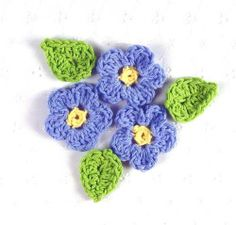 Set Of 3 - Small Delicate Crocheted Blue & Yellow Forget-Me-Not Flower Appliques W/ Leaves Crochet Flower Tutorial, Crochet Flower Patterns, Flower Applique, Crochet Motif, Irish Crochet, Crochet Flowers, Knit Crochet, All Free Crochet, Crochet Scarves